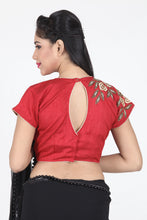 Load image into Gallery viewer, MAROON COLOUR DUPION SILK EMBROIDERED BLOUSE