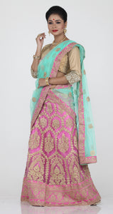 UNSTITCH PINK COLOUR NET LEHENGA WITH CONTRASTING ZARI EMBROIDERY