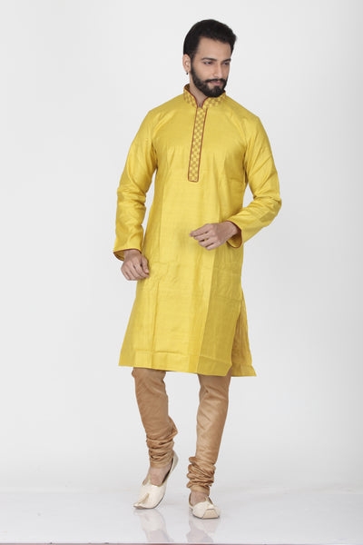 YELLOW COLOUR DUPION SILK KNEE LENGTH KURTA