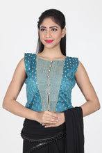 Load image into Gallery viewer, RAW SILK ALL OVER THREAD WORK SLEEVELESS JACKET BLOUSE