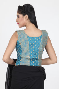 RAW SILK ALL OVER THREAD WORK SLEEVELESS JACKET BLOUSE