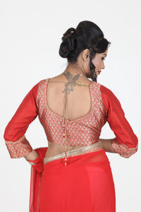 FULL SLEEVE RED COLOUR DUPION SILK BLOUSE