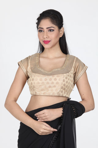 BEIGE COLOUR DUPION SILK BLOUSE WITH HIGHLIGHTED NECK AND SLEEVE DESIGN