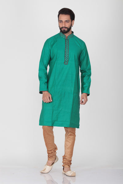 GREEN COLOUR DUPION SILK KNEE LENGTH KURTA