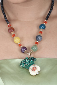 MULTI COLOUR BEADS NECKLACE WITH STYLISH AND FANCY PENDENT