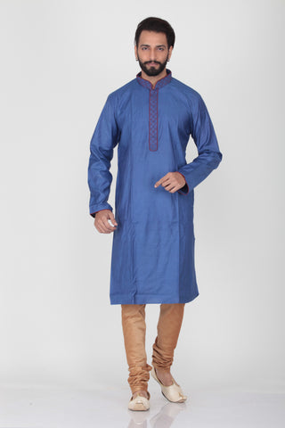 BLUE COLOUR DUPION SILK KNEE LENGTH KURTA