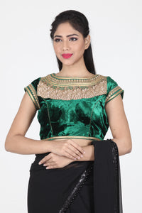 GREEN COLOUR BOAT NECK VELVET CUT WORK BLOUSE