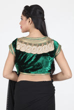 Load image into Gallery viewer, GREEN COLOUR BOAT NECK VELVET CUT WORK BLOUSE