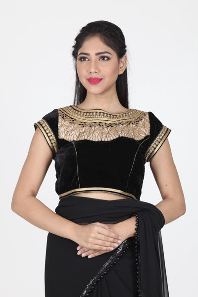 BLACK COLOUR BOAT NECK VELVET CUT WORK BLOUSE