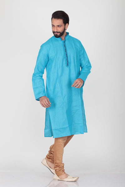 SKY COLOUR LINEN KNEE LENGTH KURTA