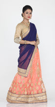 Load image into Gallery viewer, UNSTITCH PEACH COLOUR NET LEHENGA WITH CONTRASTING ZARI EMBROIDERY