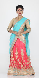 UNSTITCH PEACH COLOUR NET LEHENGA WITH CONTRASTING ZARI EMBROIDERY