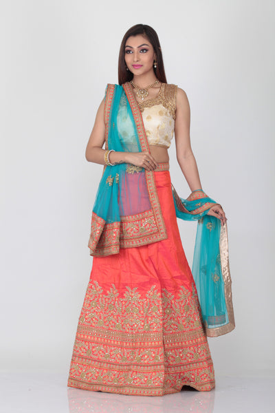 UNSTITCH PEACH COLOUR SILK LEHENGA WITH ALL OVER CONTRASTING THREAD EMBROIDERY