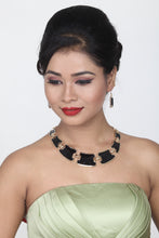 Load image into Gallery viewer, GORGEOUS BLACK AND GOLDEN ALLOY STATEMENT NECKLACE SET