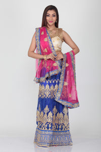 UNSTITCH ROYAL BLUE COLOUR NET EMBROIDERED LEHENGA WITH CONTRASTING DUPATTA