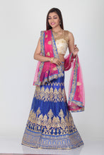 Load image into Gallery viewer, UNSTITCH ROYAL BLUE COLOUR NET EMBROIDERED LEHENGA WITH CONTRASTING DUPATTA