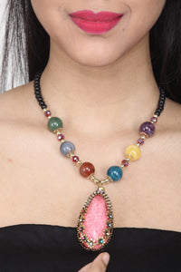 MULTI COLOUR CHEMICAL BEADS NECKLACE