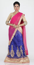 Load image into Gallery viewer, UNSTITCH ROYAL BLUE COLOUR NET LEHENGA WITH CONTRASTING ZARI CHAIN WORK