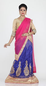 UNSTITCH ROYAL BLUE COLOUR NET LEHENGA WITH CONTRASTING ZARI CHAIN WORK