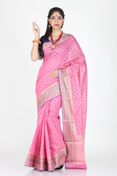 PINK COLOUR SELF CHANDERI SILK SAREE WITH CONTRASTING MINAKARI BORDER