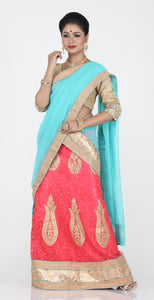 UNSTITCH PEACH COLOUR NET LEHENGA WITH CONTRASTING SKY BLUE COLOUR DUPATTA AND ZARI EMBROIDERY