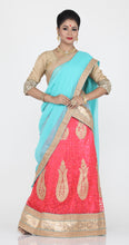 Load image into Gallery viewer, UNSTITCH PEACH COLOUR NET LEHENGA WITH CONTRASTING SKY BLUE COLOUR DUPATTA AND ZARI EMBROIDERY