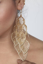 Load image into Gallery viewer, GOLDEN COLOUR LEAF MOTIF WESTERN EARRING