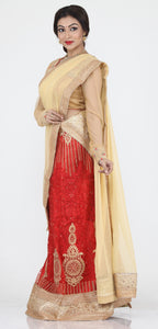 UNSTITCH RED COLOUR NET LEHENGA WITH CONTRASTING ZARI CHAIN EMBROIDERY