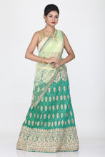 Load image into Gallery viewer, SEA-GREEN COLOUR DUPION SILK LEHENGA WITH CONTRASTING GOLDEN THREAD EMBROIDERY