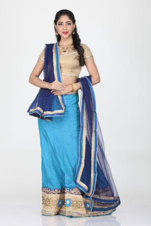 UNSTITCH BLUE COLOUR DUPION SILK LEHENGA WITH CONTRASTING DUPATTA AND BORDER DESIGN