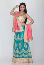 Load image into Gallery viewer, UNSTITCH SKY COLOUR EMBROIDERED LEHENGA WITH CONTRASTING PINK DUPATTA
