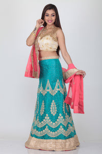 UNSTITCH SKY COLOUR EMBROIDERED LEHENGA WITH CONTRASTING PINK DUPATTA