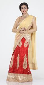 UNSTITCH RED COLOUR NET LEHENGA WITH CONTRASTING ZARI PATCH WORK