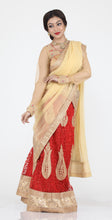 Load image into Gallery viewer, UNSTITCH RED COLOUR NET LEHENGA WITH CONTRASTING ZARI PATCH WORK