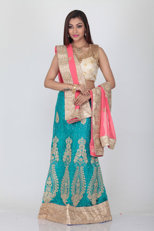 UNSTITCH SKY COLOUR EMBROIDED LEHENGA WITH CONTRASTING PINK DUPATTA