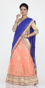 UNSTITCH LIGHT PEACH COLOUR NET LEHENGA WITH CONTRASTING ZARI PATCH WORK