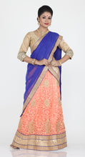 Load image into Gallery viewer, UNSTITCH LIGHT PEACH COLOUR NET LEHENGA WITH CONTRASTING ZARI PATCH WORK