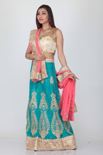 Load image into Gallery viewer, UNSTITCH SKY COLOUR EMBROIDED LEHENGA WITH CONTRASTING PINK DUPATTA