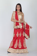 Load image into Gallery viewer, UNSTITCH SELF RED COLOUR EMBROIDERED NET LEHENGA