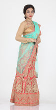 Load image into Gallery viewer, UNSTITCH BRIGHT PEACH COLOUR NET LEHENGA WITH CONTRASTING ZARI-THREAD EMBROIDERY