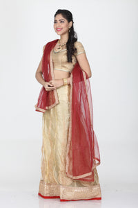 UNSTITCH BEIGE COLOUR NET LEHENGA WITH CONTRASTING RED DUPATTA
