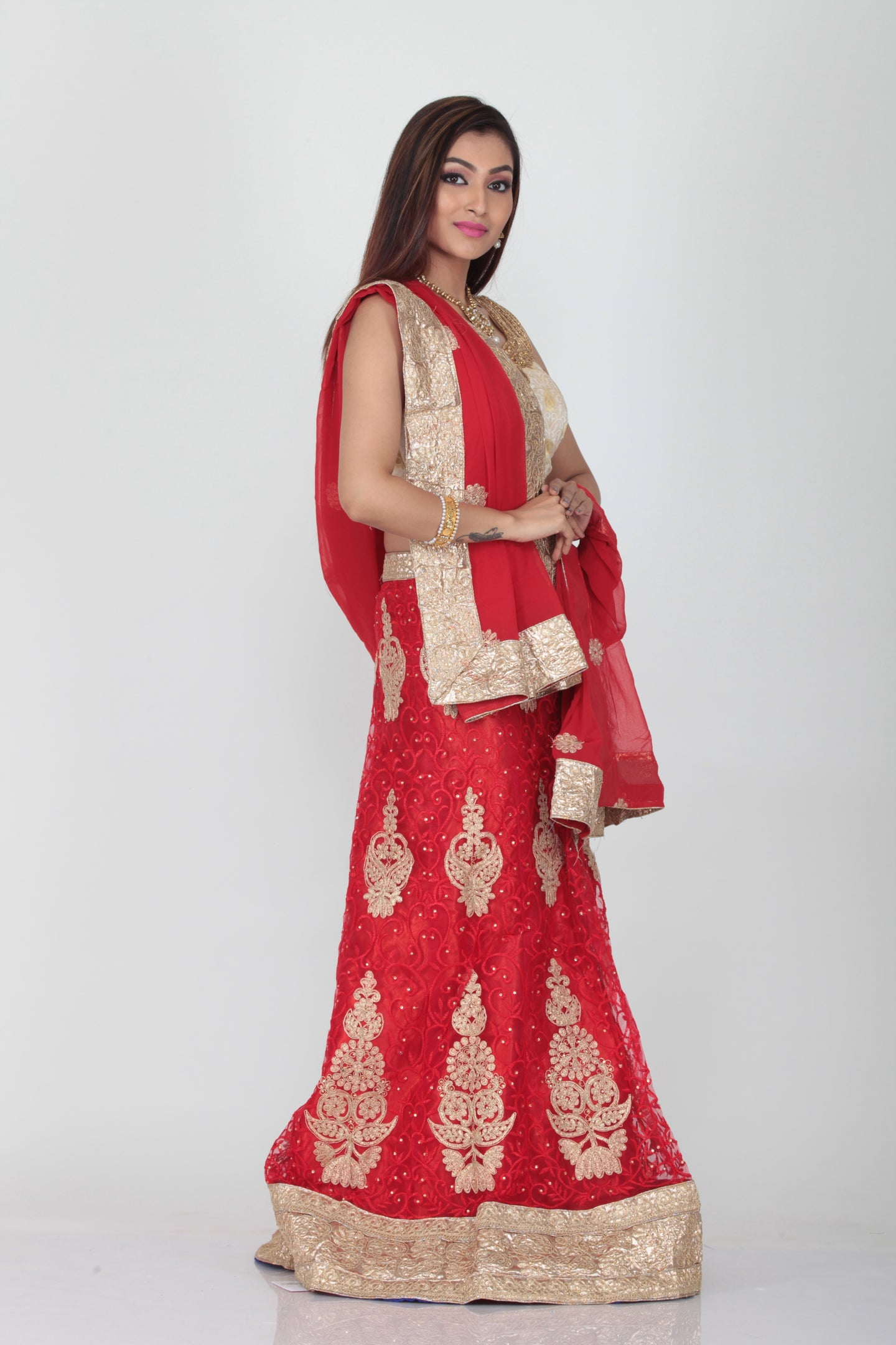 UNSTITCH SELF RED COLOUR EMBROIDERED NET LEHENGA