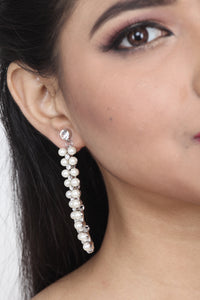WHITE COLOUR STONE AND PEARL EARRING