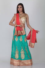 Load image into Gallery viewer, UNSTITCH SKY COLOUR NET EMBROIDERED LEHENGA WITH CONTRASTING PEACH DUPATTA
