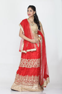 UNSTITCH RED COLOUR SELF EMBROIDED LEHENGA