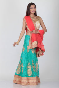 UNSTITCH SKY COLOUR NET EMBROIDERED LEHENGA WITH CONTRASTING PEACH DUPATTA