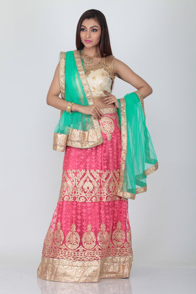 UNSTITCH LIGHT PINK COLOUR LEHENGA WITH CONTRASTING ZARI-THREAD EMBROIDERY