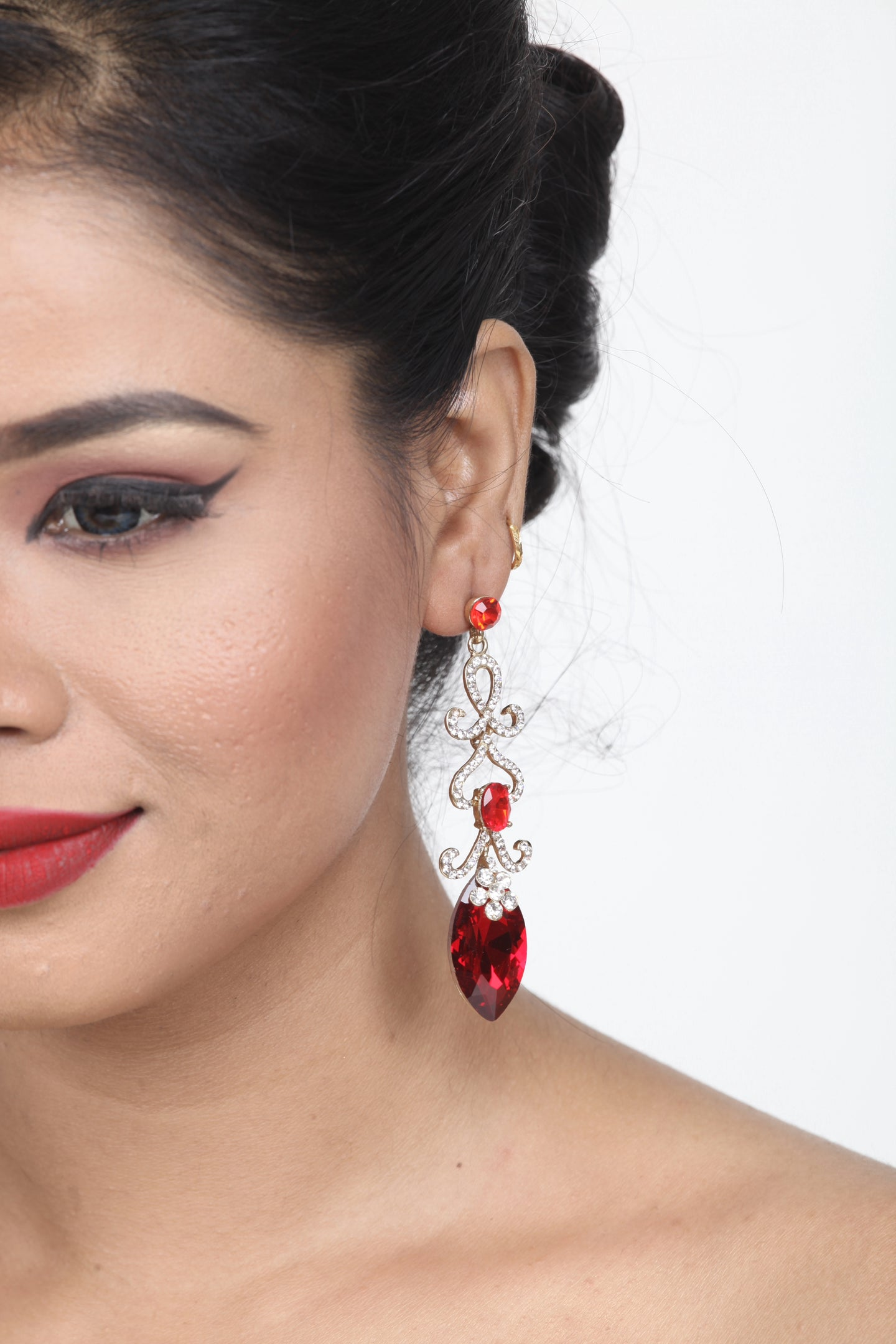 RED COLOUR GORGEOUS LONG STONE EARRING