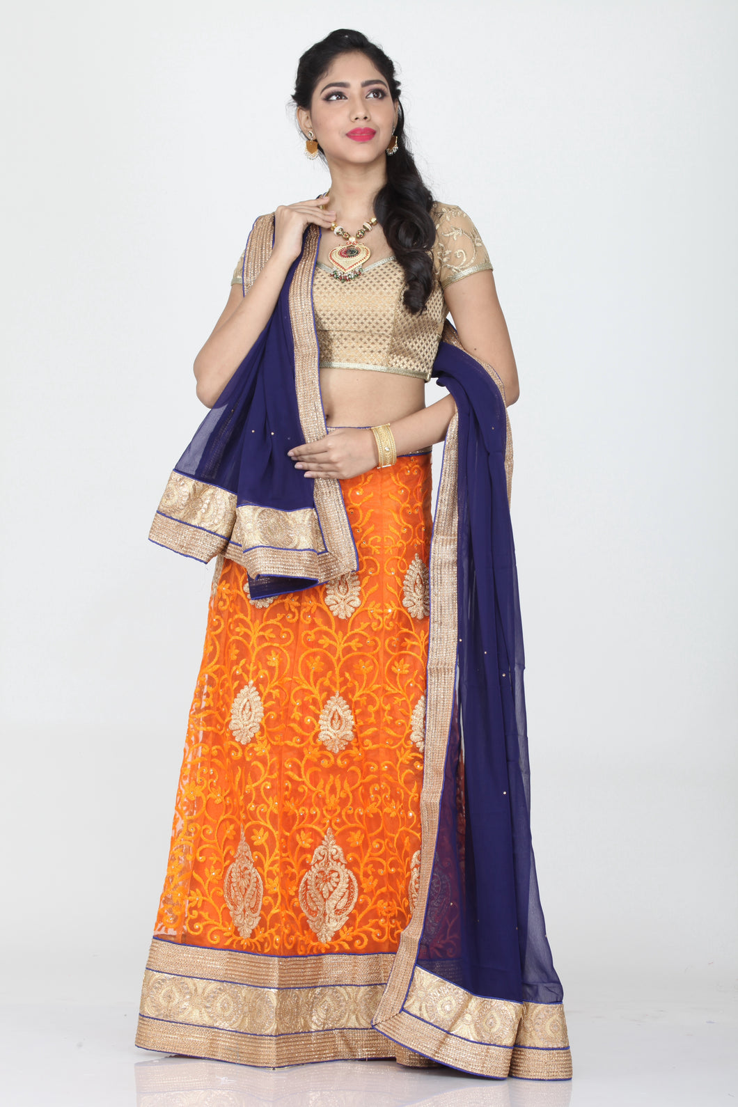 UNSTITCH ORANGE COLOUR LEHENGA WITH CONTRASTING ZARI AND THREAD EMBROIDERY