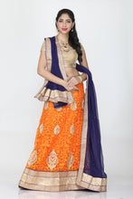 Load image into Gallery viewer, UNSTITCH ORANGE COLOUR LEHENGA WITH CONTRASTING ZARI AND THREAD EMBROIDERY